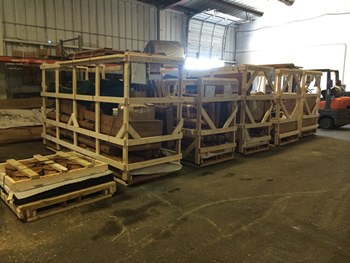 Crates lined up for shipping